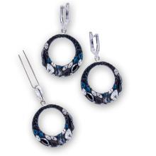 Сребърен комплект обеци и медальон с кристали от Swarovski® SKM106 Black Gold