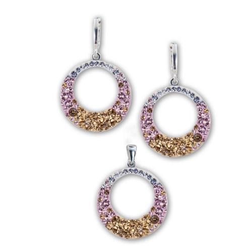 Сребърен Комплект Обеци И Медальон С Кристали От Swarovski® SKM106 Colorado Rose