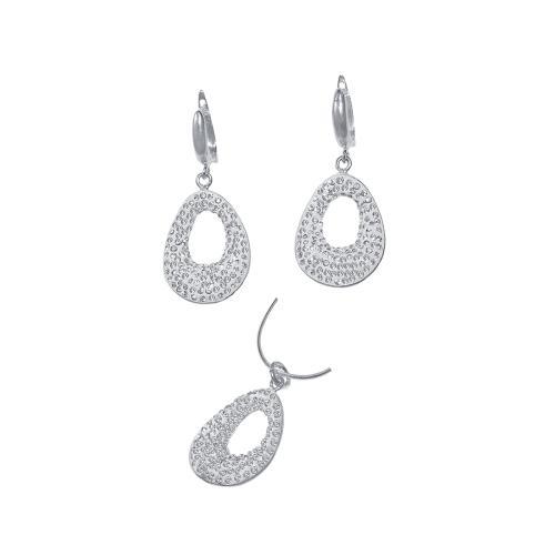 Сребърен комплект обеци и медальон с кристали от Swarovski® SKM107