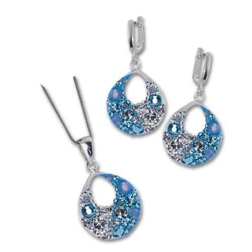 Сребърен комплект обеци и медальон с кристали от Swarovski® SKM108