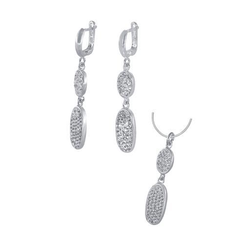 Сребърен комплект обеци и медальон с кристали от Swarovski® SKM110