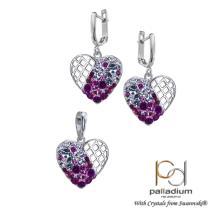 Сребърен комплект обеци и медальон с кристали от Swarovski® SKM112