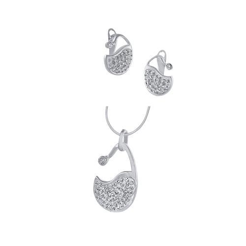 Сребърен комплект обеци и медальон с кристали от Swarovski® SKM113