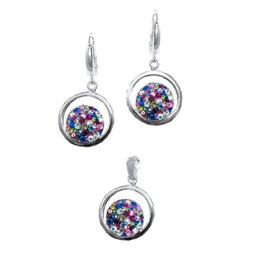 Сребърен Комплект Обеци И Медальон С Кристали От Swarovski® SKM115 Multicolor