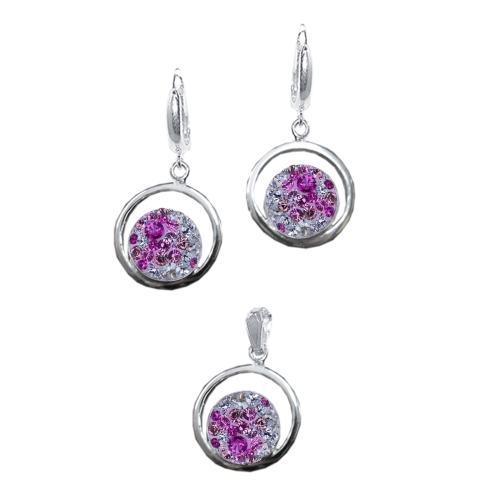 Сребърен комплект обеци и медальон с кристали от Swarovski® SKM115