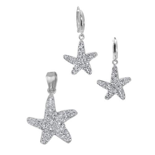 Сребърен комплект обеци и медальон Морска звезда