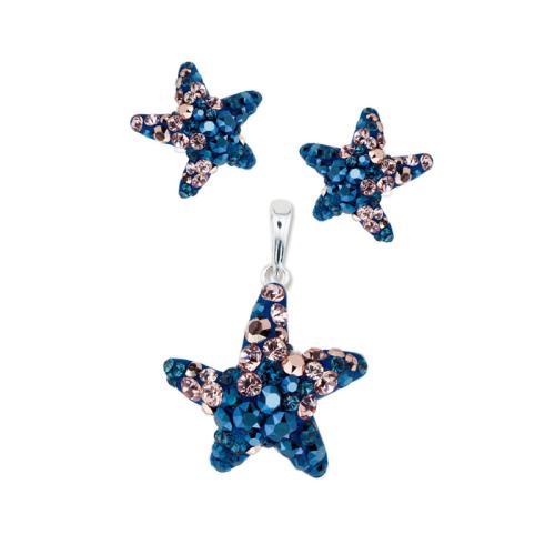Сребърен комплект обеци и медальон Морска звезда Metallic Rose Gold