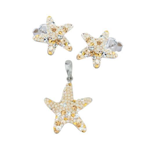 Сребърен комплект обеци и медальон Морска звезда Vintage