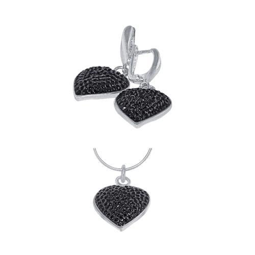 Сребърен комплект обеци и медальон с кристали от Swarovski® SKM118