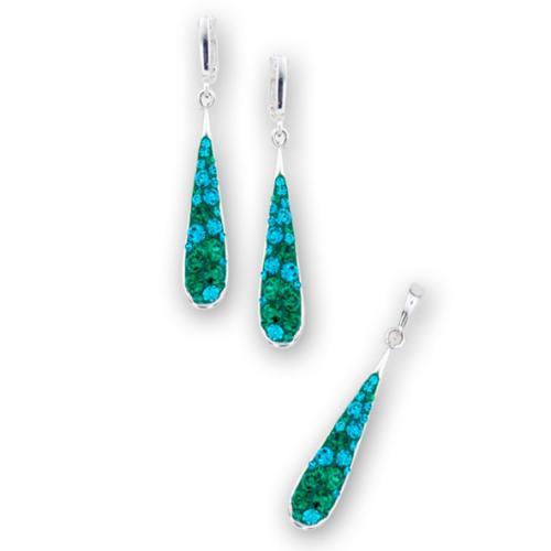 Сребърен комплект обеци и медальон с кристали от Swarovski® SKM119 Blue Zircon and Emerald