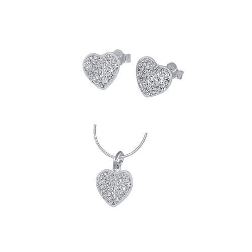 Сребърен комплект обеци и медальон с кристали от Swarovski® SKM120 Crystal