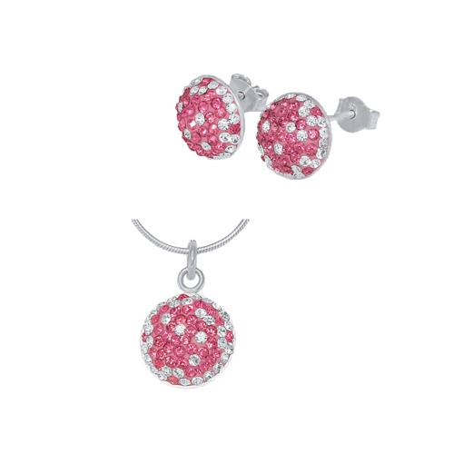 Сребърен комплект обеци и медальон с кристали от Swarovski® SKM121 Rose and Crystal
