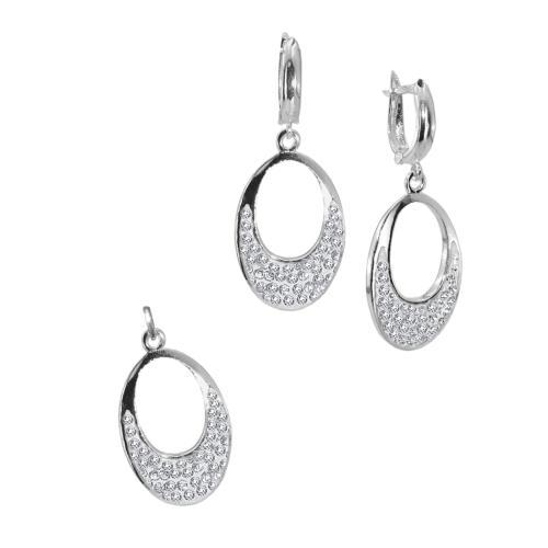 Сребърен комплект обеци и медальон с кристали от Swarovski® SKM122