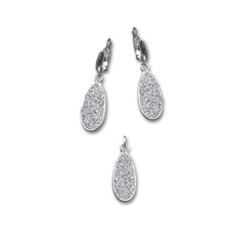 Сребърен комплект обеци и медальон с кристали от Swarovski® SKM123