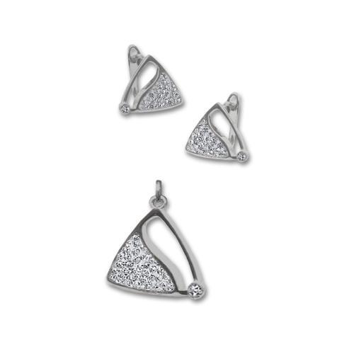 Сребърен комплект обеци и медальон с кристали от Swarovski® SKM125