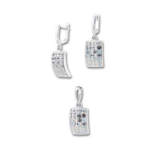 Сребърен комплект обеци и медальон с кристали от Swarovski® SKM126 White Opal and Crystal