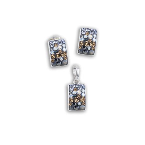 Сребърен комплект обеци и медальон с кристали от Swarovski® SKM126 Smoky Mauve