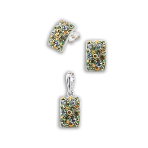 Сребърен комплект обеци и медальон с кристали от Swarovski® SKM126 Green Gold