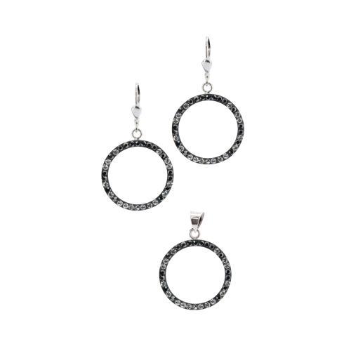 Сребърен комплект обеци и медальон с кристали от Swarovski® SKM128