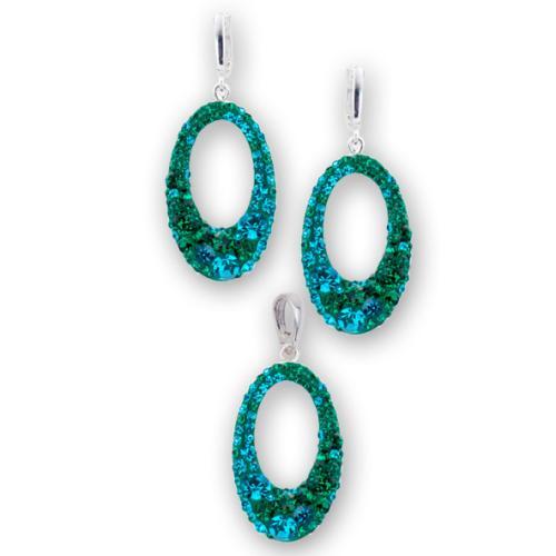 Сребърен комплект обеци и медальон с кристали от Swarovski® SKM129 Blue Zircon and Emerald