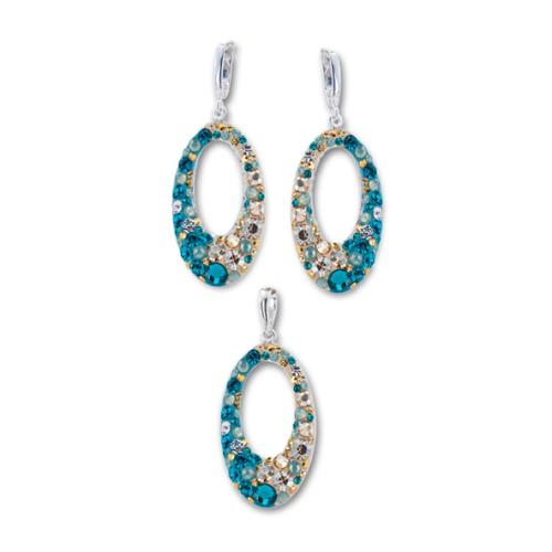 Сребърен комплект обеци и медальон с кристали от Swarovski® SKM129  Blue Zircon and Golden Shadow