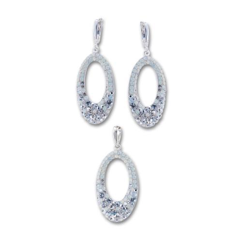 Сребърен комплект обеци и медальон с кристали от Swarovski® SKM129 Silver Shade