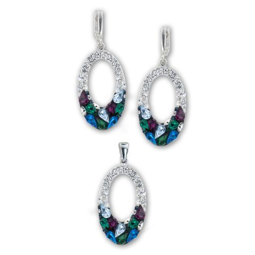 Сребърен комплект обеци и медальон с кристали от Swarovski® SKM129 Queen Drops