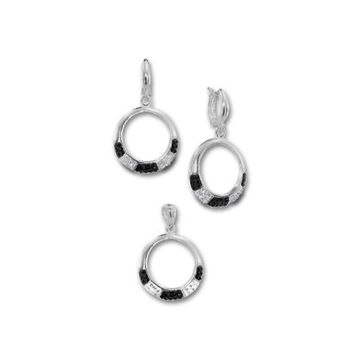 Сребърен комплект обеци и медальон с кристали от Swarovski® SKM130