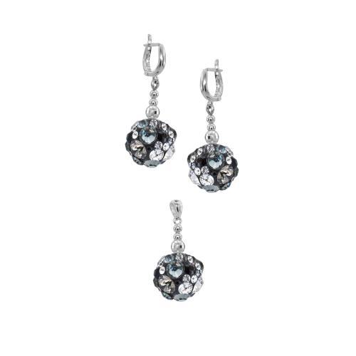 Сребърен комплект обеци и медальон с кристали от Swarovski® SKM131
