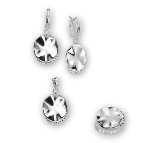 Сребърен комплект обеци, медальон и пръстен с кристали от Swarovski® SKM132