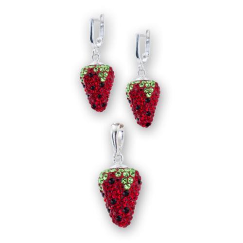 Сребърен комплект обеци и медальон с кристали от Swarovski® SKM133