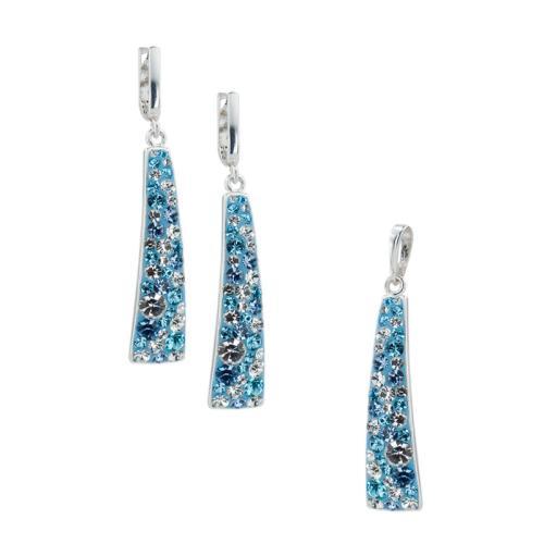 Сребърен Комплект Обеци И Медальон С Кристали От Swarovski® SKM135 Deep Blue