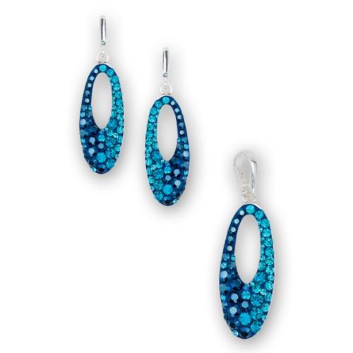 Сребърен комплект обеци и медальон с кристали от Swarovski® SKM136 Metallic Blue