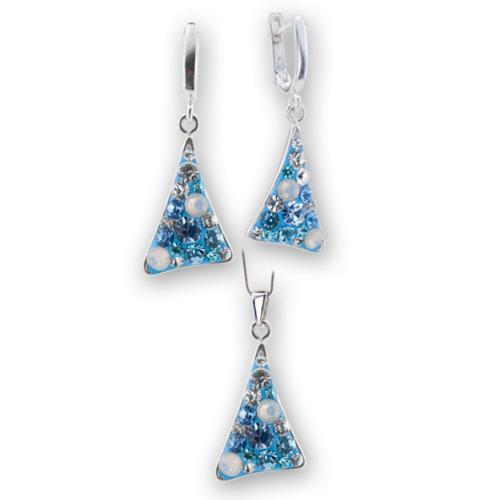Сребърен комплект обеци и медальон с кристали от Swarovski® SKM137 Deep Blue