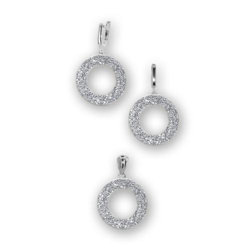Сребърен комплект обеци и медальон с кристали от Swarovski® SKM139