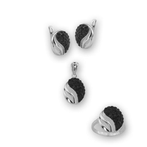 Сребърен комплект обеци, медальон и пръстен с кристали от Swarovski® SKM140 jet