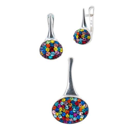 Сребърен комплект обеци и медальон с кристали от Swarovski® SKM142