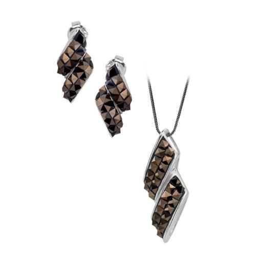Сребърен Комплект Обеци И Медальон С Кристали От Swarovski® SKM143 Desert Rock