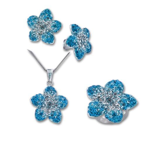 Сребърен комплект обеци, медальон и пръстен с кристали от Swarovski® SKM144