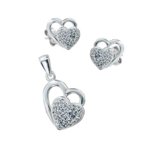 Сребърен комплект обеци и медальон с кристали от Swarovski® SKM145