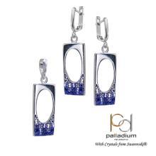 Сребърен комплект обеци и медальон с кристали от Swarovski® SKM146 Peach Gold