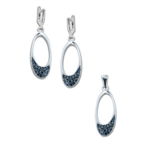 Сребърен комплект обеци и медальон с кристали от Swarovski® SKM147