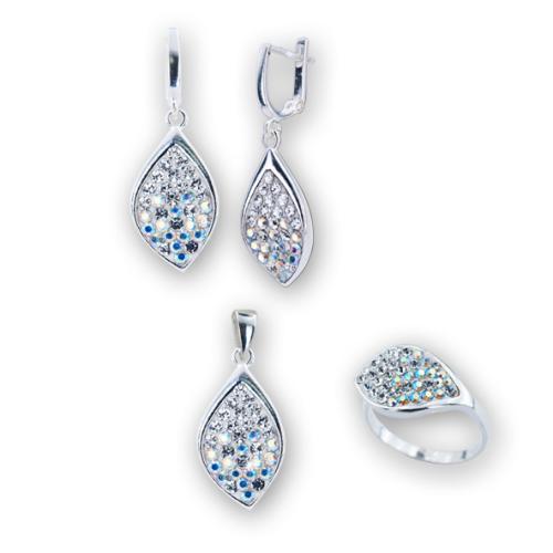Сребърен комплект обеци, медальон и пръстен с кристали от Swarovski® SKM148 Crystal and AB Crystal