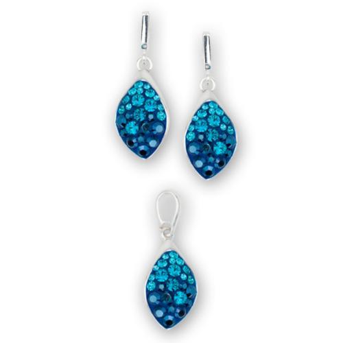 Сребърен комплект обеци и медальон с кристали от Swarovski® SKM148 Metallic Blue