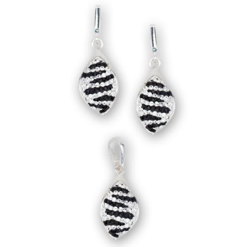Сребърен комплект обеци и медальон с кристали от Swarovski® SKM148 Zebra
