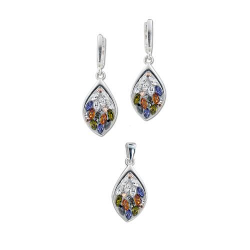 Сребърен комплект обеци и медальон с кристали от Swarovski® SKM148 Colorful Drops