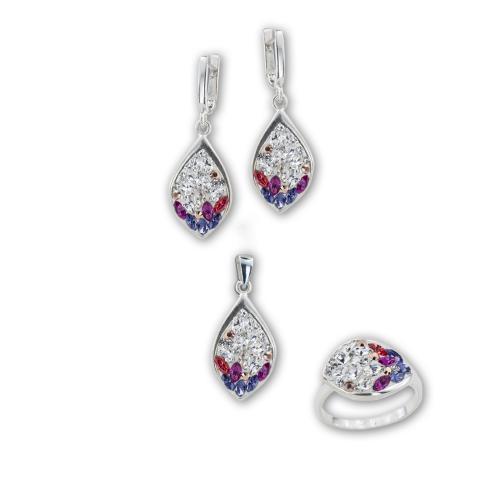 Сребърен комплект обеци, медальон и пръстен с кристали от Swarovski® SKM148 Colorful Drops2