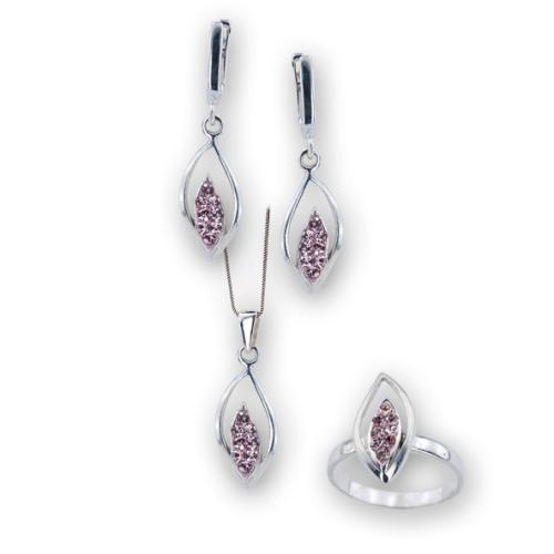 Сребърен комплект обеци и медальон с кристали от Swarovski® SKM150 Vintage Rose