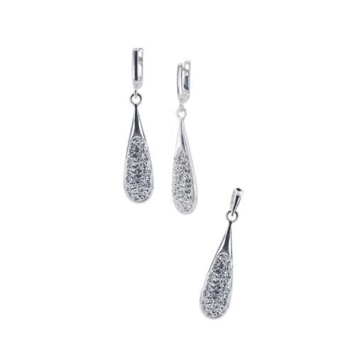 Сребърен комплект обеци и медальон с кристали от Swarovski® SKM151