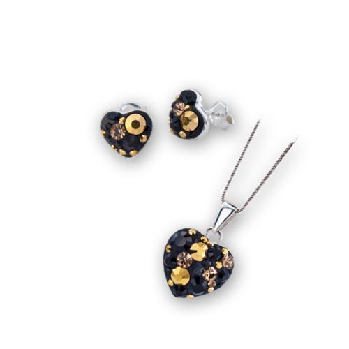 Сребърен комплект обеци и медальон с кристали от Swarovski® SKM152 Black Gold